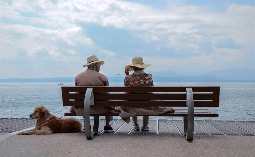 ベンチに座る老夫婦(フリー写真)