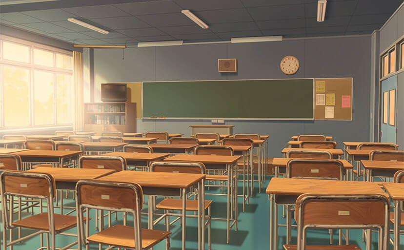 教室(フリー背景素材)