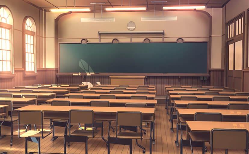 夕方の教室(フリー背景素材)